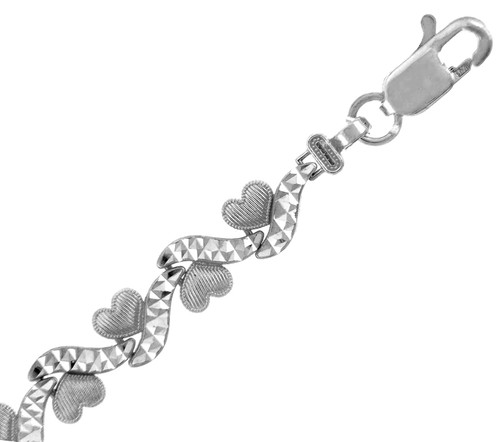 White Gold Bracelet - The Mini Hearts Bracelet