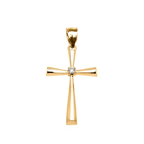 Yellow Gold Solitaire Diamond Cross Elegant Pendant Necklace