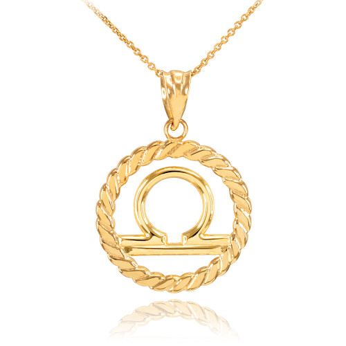 Gold Libra Zodiac Sign in Circle Rope Pendant Necklace