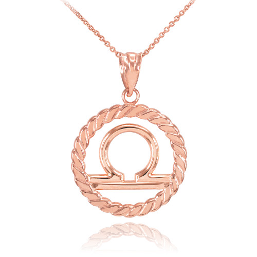 Rose Gold Libra Zodiac Sign in Circle Rope Pendant Necklace