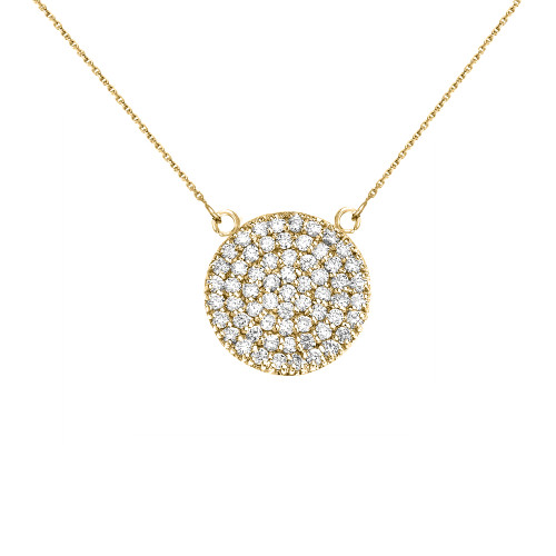 14k Yellow Gold 0.5 Carat Diamond Micro-pave Circle (21 mm) Necklace