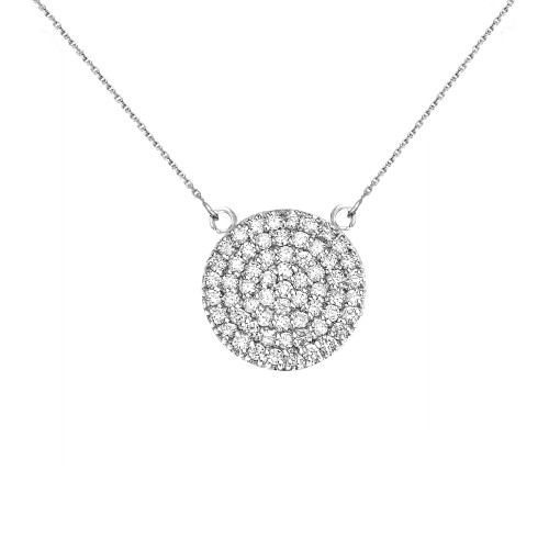 14k White Gold 0.5 Carat Diamond Micro-pave Circle (21 mm) Necklace