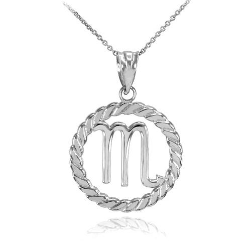 White Gold Scorpio Zodiac Sign in Circle Rope Pendant Necklace