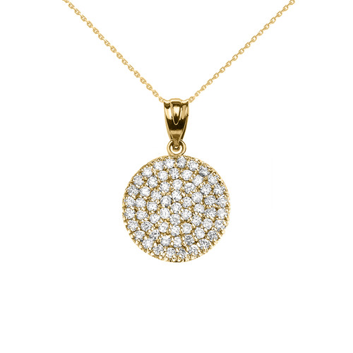 14K Yellow Gold 0.5 Carat Micro-pave Diamond Circle (21 mm) Necklace