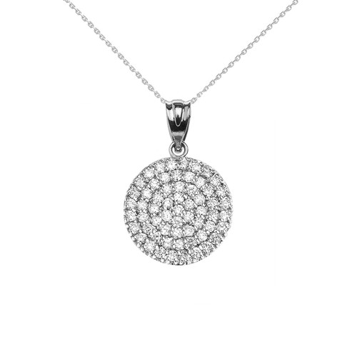 14K White Gold 0.5 Carat Micro-pave Diamond Circle (21 mm) Necklace