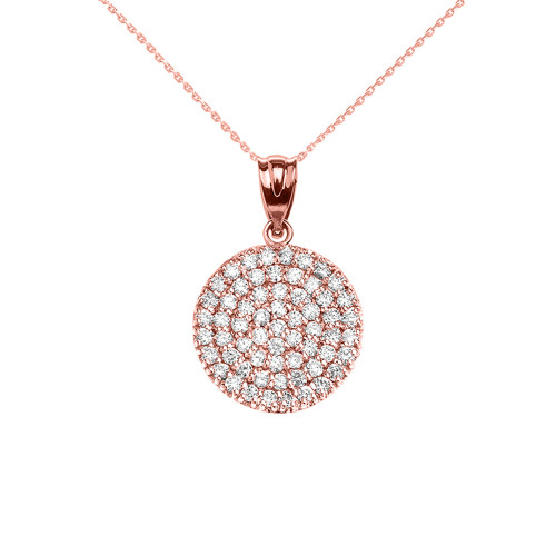 14K Rose Gold 0.5 Carat Micro-pave Diamond Circle (21 mm) Necklace