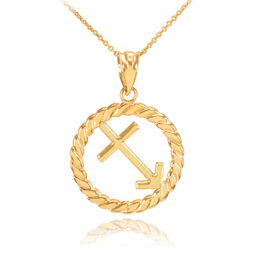 Gold Sagittarius Zodiac Sign in Circle Rope Pendant Necklace