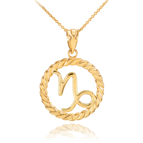 Gold Capricorn Zodiac Sign in Circle Rope Pendant Necklace