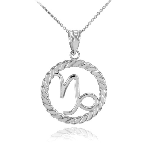 White Gold Capricorn Zodiac Sign in Circle Rope Pendant Necklace