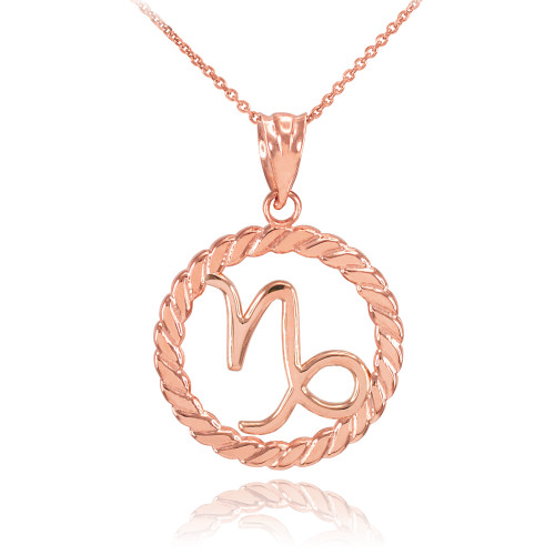 Rose Gold Capricorn Zodiac Sign in Circle Rope Pendant Necklace