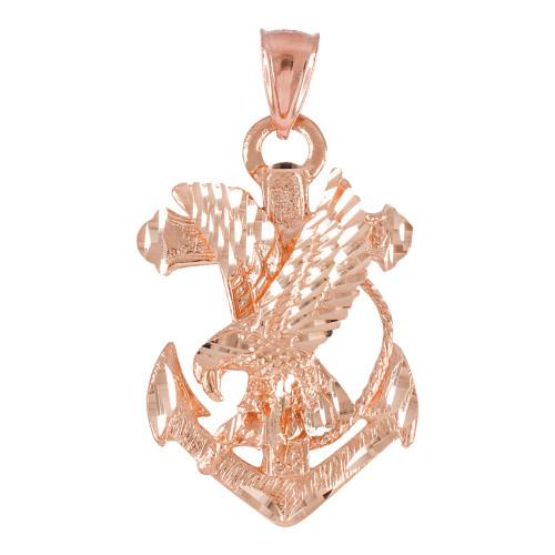 Rose Gold Anchor Eagle Diamond Cut Pendant