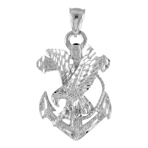 Sterling Silver Anchor Eagle Diamond Cut Pendant