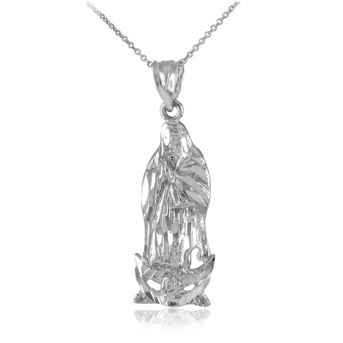 White Gold Our Lady of Guadalupe Miraculous Pendant Necklace