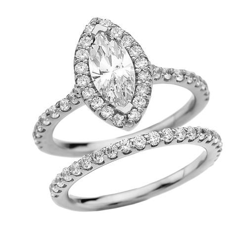 Cubic Zirconia Marquise Solitaire Elegant White Gold Engagement Wedding Ring Set