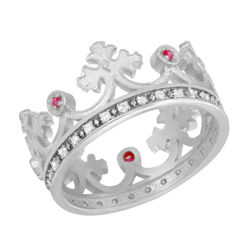 White Gold Red CZ Medieval Crown Diamond Band Women's Ring