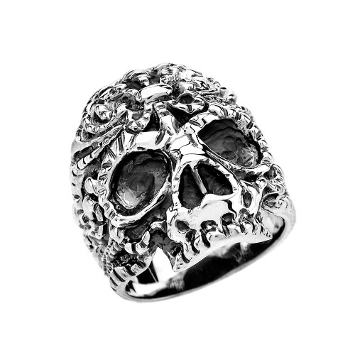 Sterling Silver Floral Design Skull Wide Cast Ring