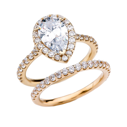 Pear Shape Solitaire Elegant Yellow Gold Cubic Zirconia Engagement Wedding Ring Set