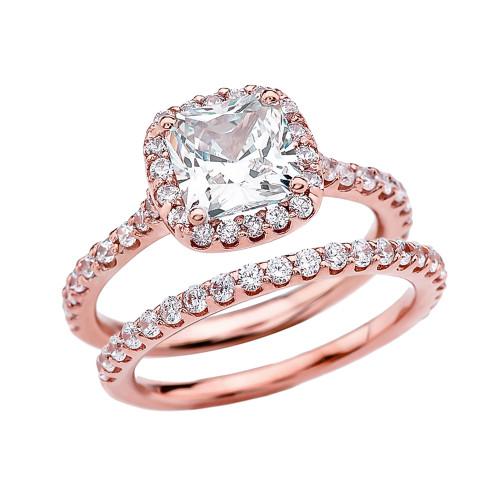 Cushion Shape Solitaire Elegant Rose Gold Cubic Zirconia Engagement Wedding Ring Set