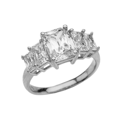 7 Carat Cubic Zirconia White Gold Engagement and Proposal/Promise Ring