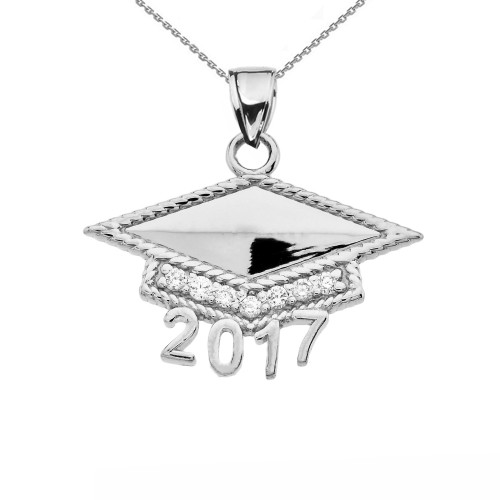 White Gold  Class of 2017 Graduation Cap with Cubic Zirconia Pendant Necklace