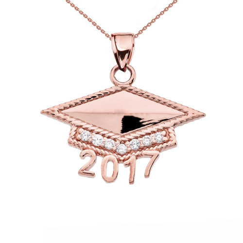 Rose Gold  Class of 2017 Graduation Cap with Diamond Pendant Necklace