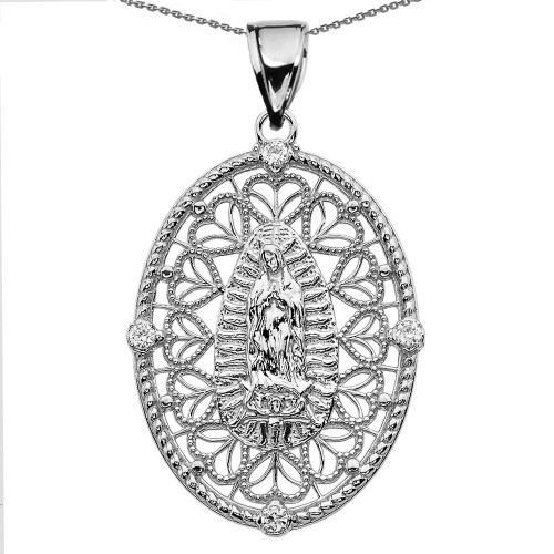 Sterling Silver Our Lady of Guadalupe Pendant Necklace With Diamond Side Stones