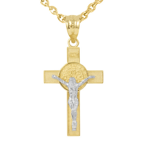 "Two Tone Yellow Gold and White Gold St. Benedict Crucifix Pendant Necklace (1.60"")"