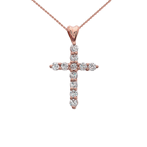 Cubic Zirconia Cross Rose Gold Pendant Necklace
