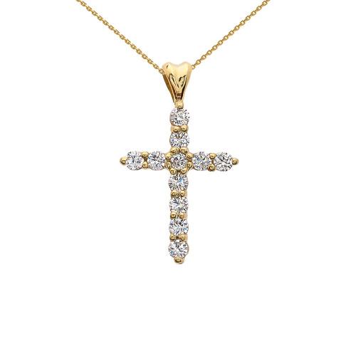 Cubic Zirconia Cross Yellow Gold Pendant Necklace