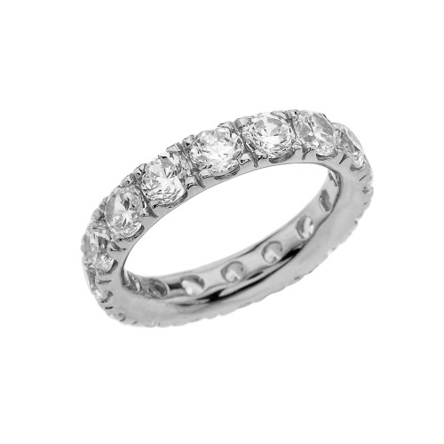4mm Comfort Fit White Gold Eternity Band With 7 ct April Birthstone Cubic Zirconia