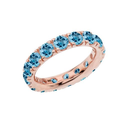 4mm Comfort Fit Rose Gold Eternity Band With 5.25 ct December Birthstone Genuine Blue Topaz
