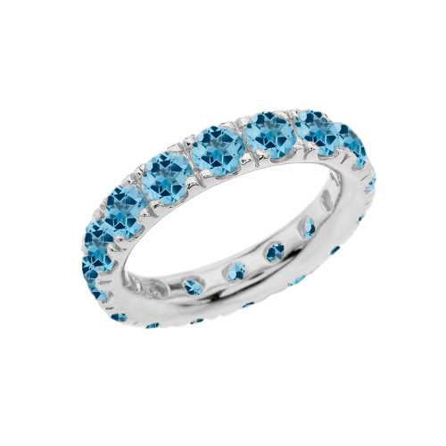 4mm Comfort Fit Sterling Silver Eternity Band With December Birthstone Blue Topaz