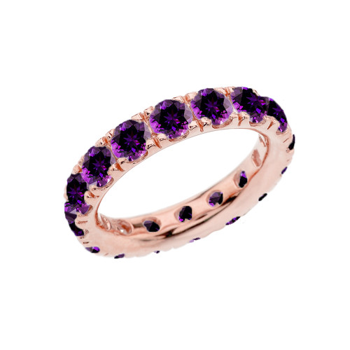 4mm Comfort Fit Rose Gold Eternity Band With 4.00 ct February Birthstone Genuine Amethyst