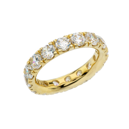 4mm Comfort Fit Yellow Gold Eternity Band With 5 ct White Topaz