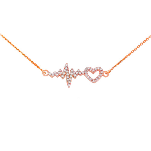 14K Rose Gold Lifeline Pulse Heartbeat Heart Diamond Pendant Necklace
