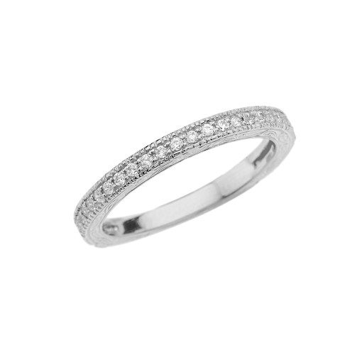 White Gold Art Deco Wedding Band With Cubic Zirconia