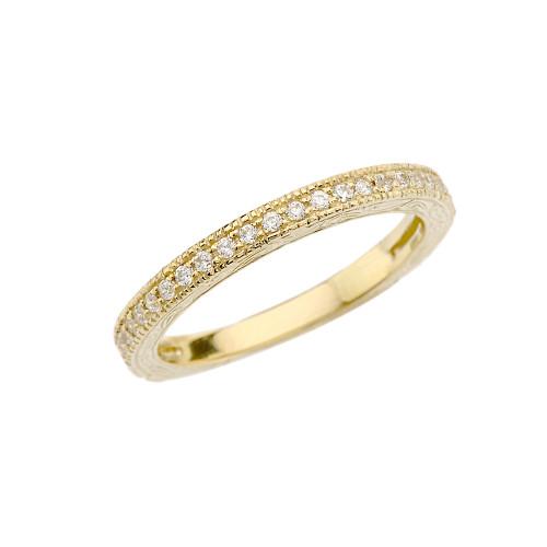 Yellow Gold Art Deco Diamond Wedding Band