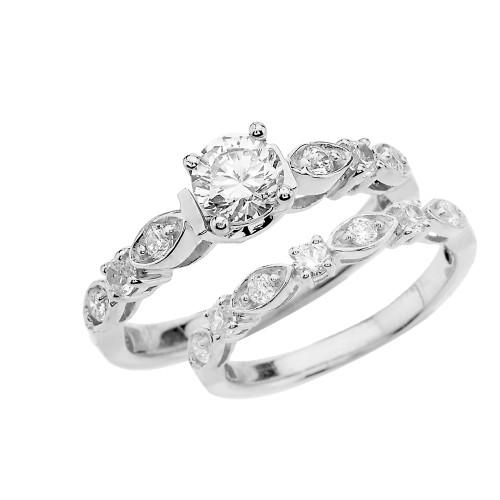 White Gold Diamond Wedding Ring Set With White Topaz Center Stone
