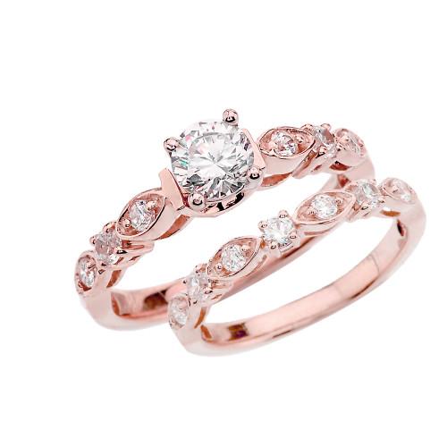Rose Gold Diamond Wedding Ring Set With White Topaz Center Stone