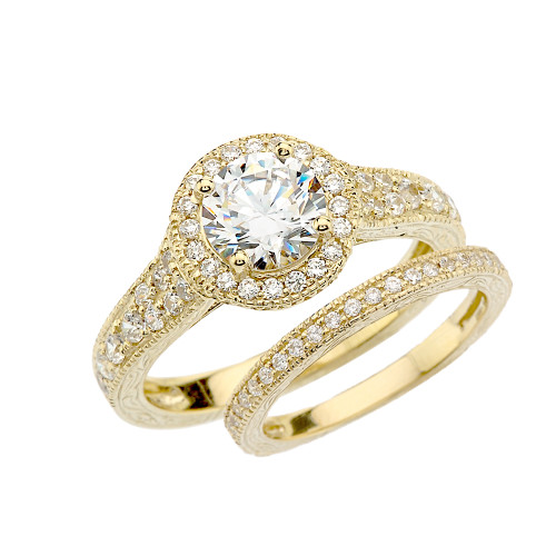 Yellow Gold Art Deco Wedding Ring Set With Cubic Zirconia