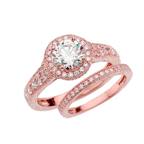 Rose Gold Art Deco Wedding Ring Set With Cubic Zirconia