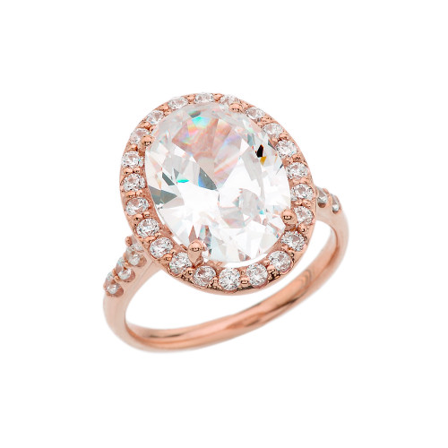 Rose Gold Engagement Ring With 10 ct Oval CZ Center Stone