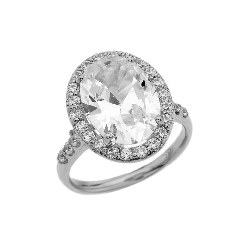 Sterling Silver Engagement Ring With 10 ct Oval CZ Center Stone