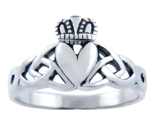 Silver Claddagh Trinity Ring for Ladies