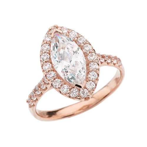 Rose Gold Engagement/Proposal Ring With Marquise Cut Cubic Zirconia