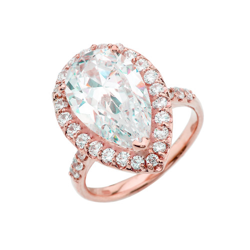 Rose Gold Engagement/Proposal Ring With Pear Cut Cubic Zirconia