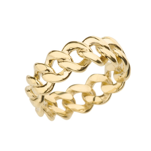 Yellow Gold 7 mm Open Miami Link Eternity Band Ring