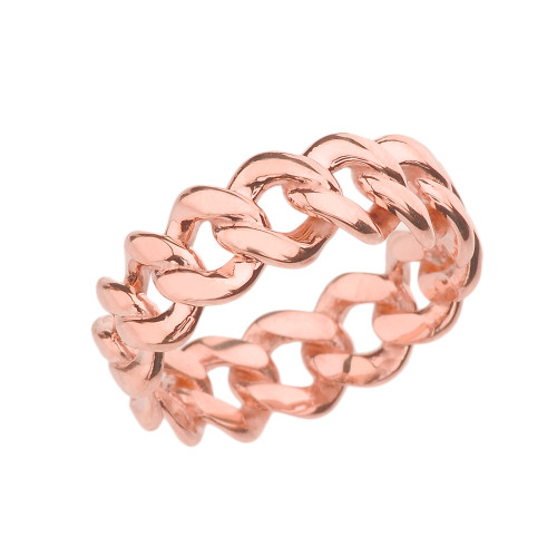 Rose Gold 7 mm Open Miami Link Eternity Band Ring