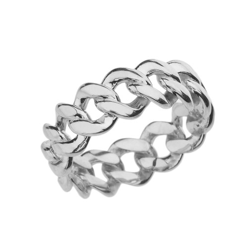 Sterling Silver 7 mm Open Miami Link Eternity Band Ring