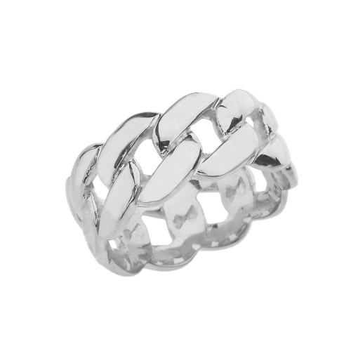 White Gold 10 mm Unisex Cuban Link Chain Eternity Band Ring